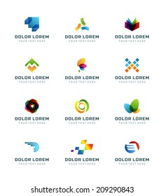 Abstract icons or logotypes design elements business creative symbols vector set