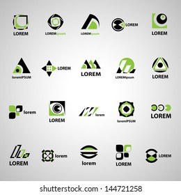 Abstract Icons Set - Isolated On Gray Background - Vector Illustration, Graphic Design Editable For Your Design. Abstract Logo