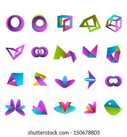 Abstract Icons Set - Isolated On White Background - Vector Illustration, Graphic Design Editable For Your Design. Abstract Logo