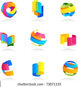 Abstract icons set with ribbon elements