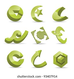 Abstract Icons Symbols logo inspiration Letter C EPS 8 vector, grouped for easy editing. No open shapes or paths.