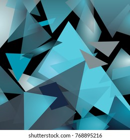 Abstract icy mountain picture. Triangular background. Blue and gray colors, halftones.