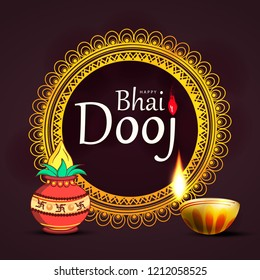 Abstract illustration background with text and frame for indian festival of happy bhai dooj and rakshabandhan celebration.