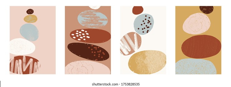 Abstract illustration with balanced pebbles. Balanced pebbles with different textures