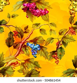 Abstract illustration of berry tree with leaves and different colored berries. Watercolor. Seamless background pattern. Vector - stock.