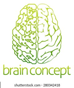 An abstract illustration of a brain electrical circuit concept design