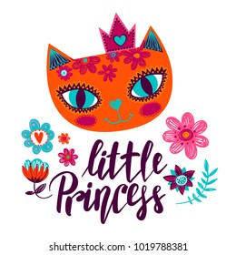 Abstract illustration with calligraphic lettering composition and cat face, crown on the head. decorative beautiful flowers, brunch, leaves, hearts. Little princess. Pussy cat smiling.
