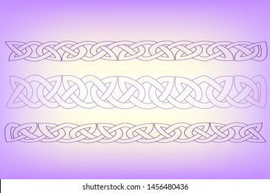 Abstract illustration Celtic ornament. Celtic purple patterns on a lavender color background. Fantasy of Celtic chains and plexuses. Simple Celtic braided print. Violete plated chains.