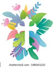Abstract illustration of Christian cross symbol with floral ornaments around it.