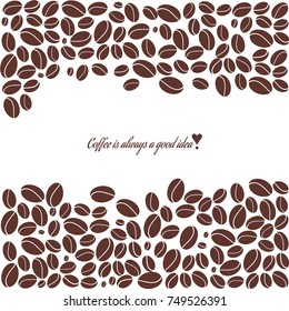 Abstract illustration with coffee beans. Coffee beans in cartoon flat style. Vector background.