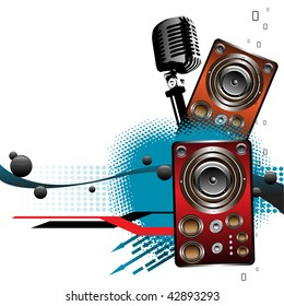 Abstract illustration with colorful loudspeakers, black bubbles and microphone. Abstract party concept