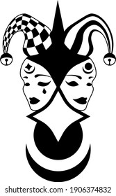 abstract illustration of comedy and tragedy masks in jester hat