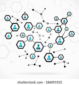 Abstract illustration with complex business network
