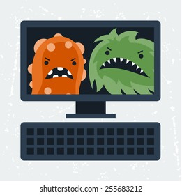 Abstract illustration computer infected with angry viruses.