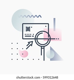 Abstract illustration concept of credit card fraud detection, banking card analysis. Premium quality unique graphic design with modern line icon symbol and colored geometric shapes on background.