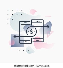Abstract illustration concept of mobile payments and money transfer via smartphone. Premium quality unique graphic design with modern line icon symbol and colored geometric shapes on background.