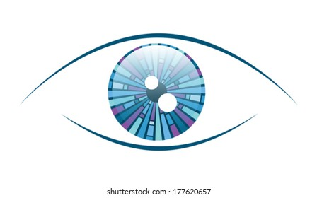 Abstract illustration of an eyeball with a geometric iris pattern. Eps 10 Vector.