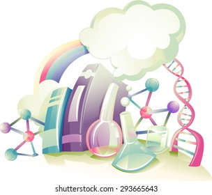 Abstract Illustration Featuring Books and Laboratory Equipment