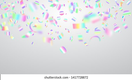 Abstract illustration of flying shiny colored confetti and pieces of serpentine on white background