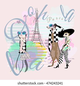 Abstract illustration of funny fashion one and two suricate Meerkat in Paris, striped watercolor background with Eiffel Tower, text  Ooh la la, color vector design print animals, poster card  textiles
