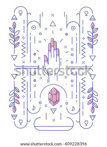 Abstract Illustration Geometric Symbols Hand No Stock Vector
