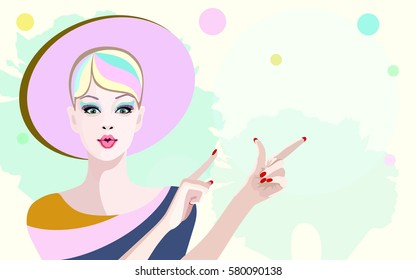 Abstract illustration girl in striped dress and pink hat,  fashion art, beauty. Color vector prints, trendy design spring Summer, lifestyle, sexy woman, shop, sale,  buy, colorful background for text