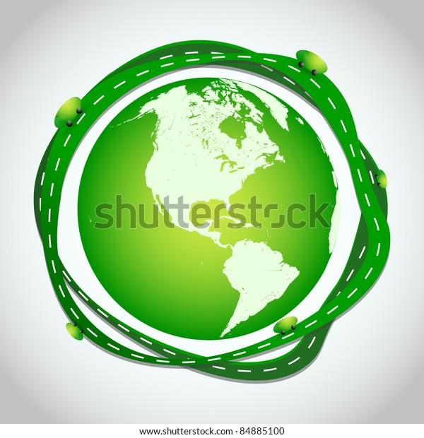 Abstract Illustration Green Roads Around Globe Stock Vector