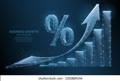 Abstract illustration of a growth graph with an arrow indicating the growth vector, on a dark background