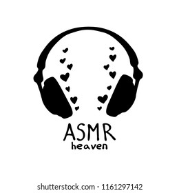 Abstract illustration of headphones in zentangle style. ASMR heaven text.