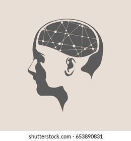 Abstract illustration of a human head with brain. Woman face silhouette. Medical theme creative concept. Connected lines with dots.