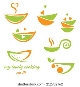 Abstract illustration icon of eco bowl with leaf and heart