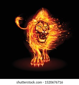 Abstract Illustration of Infuriated Lion with Fire Flames Fur in Orange Color on Black Background