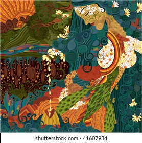 abstract illustration with and abstract mother earth