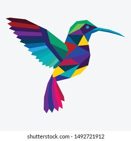 Abstract illustration of a multi color Kingfisher bird with Low poly technique.