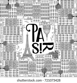 Abstract illustration of Paris - Hand drawn french houses with the Eiffel tower in square format