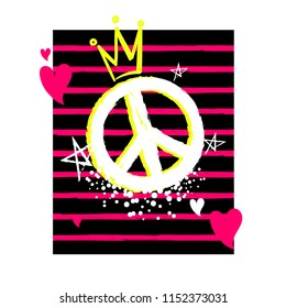 Abstract illustration with peace sign, spray paint ink, dots, stars, hearts, crown, stripe repeats background. girlish fancy poster.  Female t shirt design.