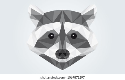 Abstract Illustration of a racoon head
