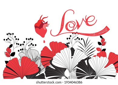 Abstract illustration with a red heart and plants. Example of a heart on a white background with elements