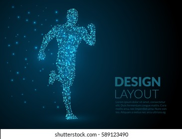Abstract Illustration of a running man created of lines dots and lights on a dark background - abstract space and stars - futuristic polygonal wireframe design