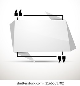 Abstract illustration with shape speech talking cloud of white color. Quote geometric origami white speech bubble background and place for message sign. Colorful banners set