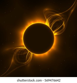 Abstract illustration of solar prominences in space, eclipse