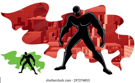 Abstract illustration of superhero and city. No transparency used. Basic (linear) gradients. Version with green cape for custom double exposure included.