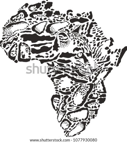 abstract illustration of symbol Africa as a Clouded leopard skin