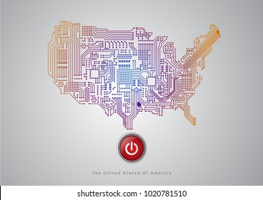 Abstract illustration vector electronic circuit line /Main board. Map of United States   POWER  button