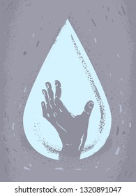 Abstract Illustration of a Water Drop with a Hand Up. Water Crisis Help