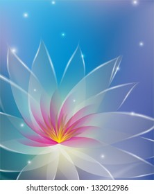 Abstract illustration with white and pink vector lotus