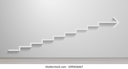 abstract illustration of white stairs on an empty wall leading to an arrow, eps10 vector
