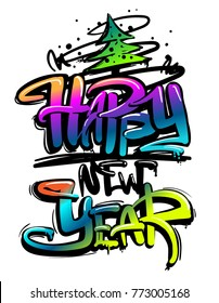 Abstract illustration for winter Christmas holidays. Happy New Year. Calligraphic composition. Text drawing in graffiti style. tree and spray paint ink, gradient color words on white background