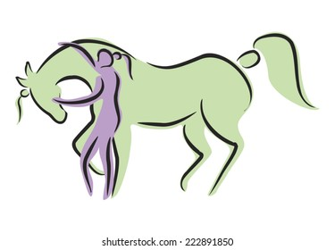 Abstract Illustration of Woman with Therapy Horse - both have ponytails. Colors are editable.