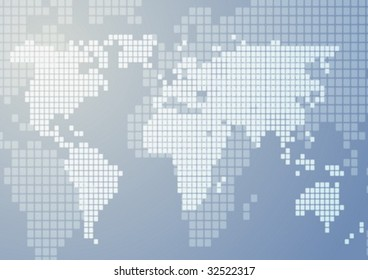 Abstract illustration of world map in mosaic style vector